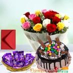 send half kg gems kit kat chocolate cake 20 mix roses 10 cadbury dairy milk in a basket delivery