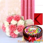 send half kg gems kit kat chocolate cake 10 carnations bouquet delivery