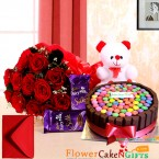 send half kg eggless kit kat games cake teddy bear dairy milk silks red roses bouquet delivery