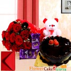 send half kg eggless chocolate cake teddy bear dairy milk silks red roses bouquet delivery