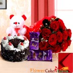 send half kg black forest cake teddy bear dairy milk silks red roses bouquet delivery
