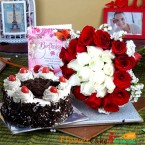 send half kg eggless black forest cake along with 20 mix red and white roses greeting card delivery