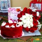send 1 kg eggless red velvet cake n 20 mix red white roses n greeting card delivery