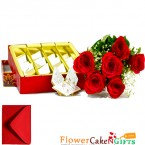 send 500gms kaju katli box with 6 red roses bouquet delivery