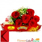 send 500 gms soan papdi sweets with 6 red roses bouquet delivery
