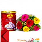 send 1kg mouthwatering rasgullas sweets 6 red roses bouquet delivery