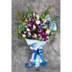 send 6 orchids with 10 white roses wrapped beautifully delivery