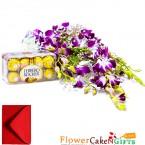 send 6 purple orchid with ferrero rocher delivery