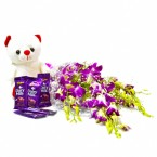send purple orchids with teddy and dairy milk delivery