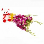 send 6 purple orchids with teddy delivery