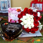 send half kg eggless chocolate cake heart shape along with 20 mix red and white roses greeting card delivery