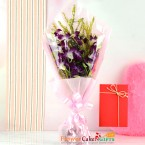 send 5 purple orchid bouquet and greeting card delivery