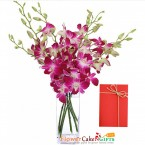send 5 purple orchid in a vase delivery