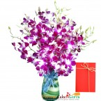 send 10 purple orchid in a vase delivery