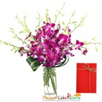 send 8 purple orchid in a vase delivery