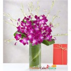 send 7 purple orchid in a vase delivery