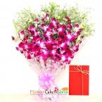 send 7 purple orchid bouquet delivery