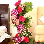 send luxurious orchid purple orchid roses flower arrangement delivery