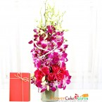 send pink roses purple orchid in a vase delivery