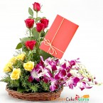 send roses orchid Beautifully arranged in a basket delivery