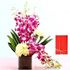send yellow carnations orchids in vase delivery