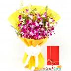 send 10 purple orchid bouquet delivery
