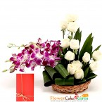 send  white roses orchids arrangement delivery