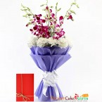 send 5 purple orchids 10 white carnations bouquet delivery