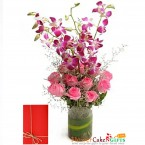 send 10 pink carnations 4 purple orchids basket delivery