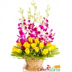 send 15 roses and 5 orchid flower basket delivery