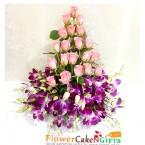 send pink roses n purple orchids basket delivery