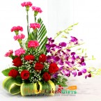 send 7 Red Roses 8 Pink Carnations 5 Purple Orchids in Basket  delivery