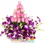 send 15 pink roses 4 purple orchids in basket delivery