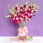 send 8 purple orchids bunch with glass vase delivery