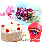 send 1kg eggless white forest cake n dairy milk chocolate n orchid bouquet delivery