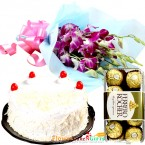 send half kg eggless white forest cake n ferrero rocher chocolates n orchid bouquet delivery
