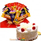 send half kg eggless white forest cake and chocolate basket delivery