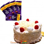 send half kg eggless white forest cake and 5 dary mike chocolate delivery