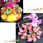 send 3 kg fresh fruit basket pink roses basket delivery