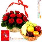 send 3kg fresh fruits basket 15 roses basket and greeting card delivery