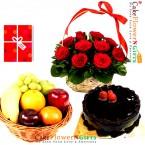 send half kg chocolate cake 3 kg fresh fruits basket 15 roses basket greeting card delivery