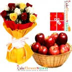 send 10 mix roses 3 kg apples basket and greeting card delivery
