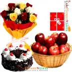 send half kg black forest cake 3 kg fresh apple fruit basket roses bunch delivery