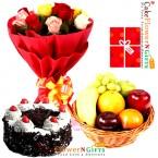 send half kg choclate cake 3kg fresh basket 15 roses basket greeting card delivery