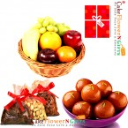 send half kg mixed dry druits 3kg Fresh Fruits 1 kg gulab jamun delivery