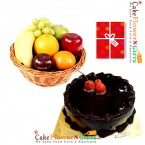send half kg chocolate cake 3kg fresh fruits basket with greeting card delivery