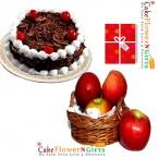 send half kg black forest cake 1kg fresh apple basket with greeting card delivery