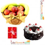 send half kg black forest cake 2kg fresh fruit basket with greeting card delivery