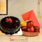 send half kg chocolate cake 1kg fresh apple basket with greeting card delivery