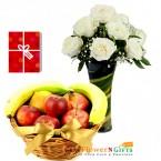 send 10 white roses vase with 2 kg fresh fruit basket delivery